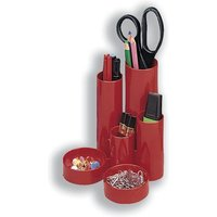 5 Star Desk Tidy with 6 Compartment Tubes (Red)