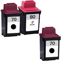 2 x Black Lexmark No. 70 and 1 x Colour Lexmark No. 80 (Lexmark Remanufactured Ink) + 1 Free Paper