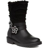 Girls Black Flower Calf Boot with a Flashing Light