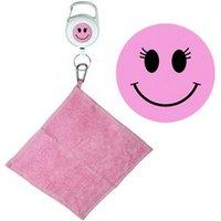 Pink Smiley Face Retractable Towel