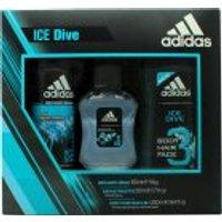 Adidas Ice Dive Gift Set 50ml EDT + 250ml Shower Gel + 150ml Deodorant Body Spray