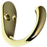 Wickes One Prong Hook Polished Brass 2 Pack