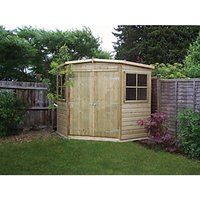 Corner Shed - Shiplap - 7 x 7 - 2 Doors - 2 Windows - Pressure Treated Hd
