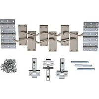 Wickes York Victorian Scroll Latch Handle Set Satin Nickel Finish 3 Pack