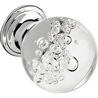 Wickes Bubbled Glass Knob Chrome 30mm 4 Pack