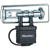 Master Lock 471EURD Hardened Steel Hasp with Integrated Weather Tough Laminated Steel Padlock 110mm