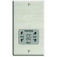 Wickes Dual Voltage Shaver Socket 2 Gang Brushed Raised Plate