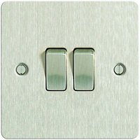 Wickes 10A Light Switch 2 Gang 2 Way Brushed Steel Ultra Flat Plate