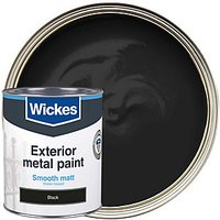 Wickes Metal Paint Smooth Matt Black 750ml