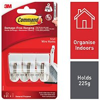Command Small Wire Hooks White 3 Pack