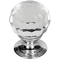 Wickes Glass Faceted Knobs Polished Chrome Finish 30mm 6 Pack