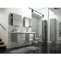 Wickes Novellara Wall Hung Unit with Basin Gloss Grey 600mm