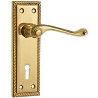 Wickes Cheshire Georgian Scroll Lock Handle Polished Brass