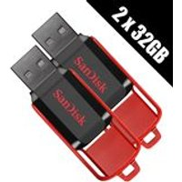 SanDisk 2 x 32GB Cruzer Switch USB Flash Drives - Thumb Drives - Pen Drives (Double Pack)