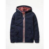 Essential Zip-up Hoodie Navy Marl Boys Boden, Navy