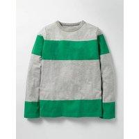 Slub Stripe T-shirt Grey Marl/Astro Green Boys Boden, Grey