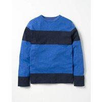 Slub Stripe T-shirt Gymnasium Blue/Navy Boys Boden, Navy