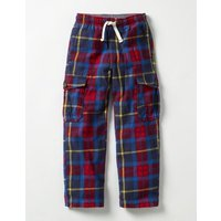Brushed Tartan Cargos Navy/Red Check Boys Boden, Navy/Red Check