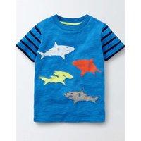 Ocean Life T-shirt Skipper and Navy Stripe Boys Boden, Blue
