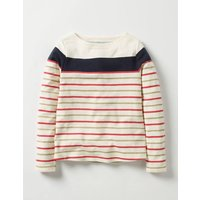 Sparkly Striped T-shirt Navy/Gold Girls Boden, Navy/Gold