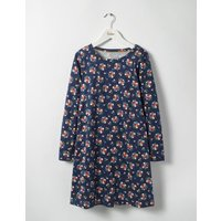 Printed Jersey Dress Navy Flower Bunch Girls Boden, Navy