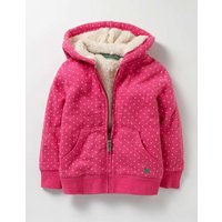 Printed Shaggy-lined Hoodie Honeysuckle Pink Spot Girls Boden, Pink