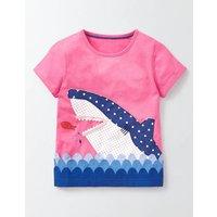 Aquatic Appliqu T-Shirt Pink Fizz Shark Girls Boden, Pink Fizz Shark