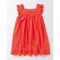 Broderie Detail Dress Coral Crush Girls Boden, Pink