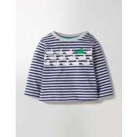Spot The Difference T-shirt Grey Marl/Beacon Blue Ducks Baby Boden, Grey Marl/Beacon Blue Ducks