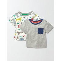 Summer Twin Pack T-shirt Grey Marl/Multi Jungle Pack Baby Boden, Grey Marl/Multi Jungle Pack