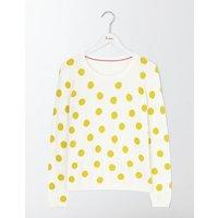 Priscilla Printed Jumper Mimosa Scattered Spot/Navy Women Boden, Yellow