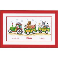 Counted Cross Stich Kit: Birth Record: Tractor