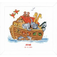 Counted Cross Stich Kit: Birth Record: Noah's Ark