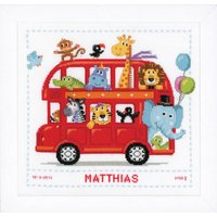 Counted Cross Stich Kit: Birth Record: Funny Bus