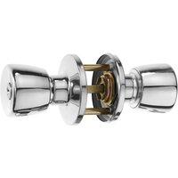 Polished Chrome Entrance Locking Door Knob Set