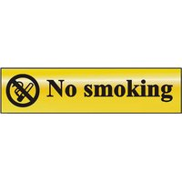 Gold Effect No Smoking Notice 200x50mm
