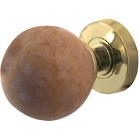 Sunset Red Coloured Marble Door Knobs 60mm