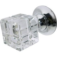 Rubic Clear Glass Square Door Knobs 45mm