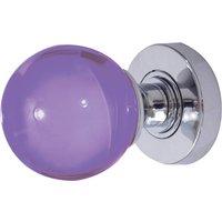 Purple Round Glass Door Knobs 60mm