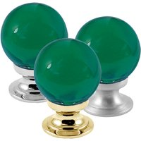 Green Round Glass Cabinet Knobs