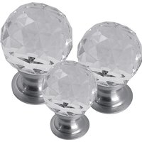 Clear Glass Cut Style Cabinet Knob Matt Chrome