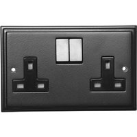 Black Hammered Finish 2 Gang Wall Socket 5118