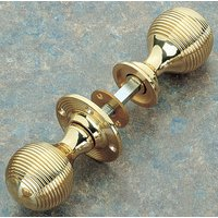 Brass Unlacquered Reeded Rim Knob Set 48mm