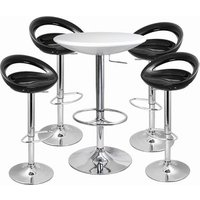 Click to view product details and reviews for Crescent Bar Stool And Podium Table Set Black White Table Stools.