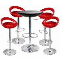 Click to view product details and reviews for Crescent Bar Stool And Podium Table Set Red Black Table Stools.