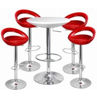Click to view product details and reviews for Crescent Bar Stool And Podium Table Set Red White Table Stools.