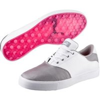 Puma Tustin Saddle Ladies Golf Shoes White Silver Pink UK 4