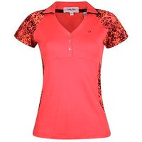 Calvin Klein Ladies Placement Print Polo Shirt PinkCode X Small D14