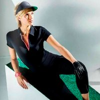 Lija Ladies Jersey Zip Polo Shirt, Black/Virtua X Large (L2)