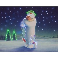 Snowman and Billy Hugging Scene Illuminated Canvas with Timer - 40 x 50cm 357277